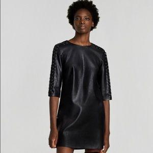 Zara Basic Collection black faux leather dress